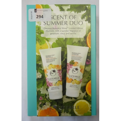 294 - NEW AND UNUSED LIZ EARLE SCENT OF SUMMER DUO comprising: one BOTANICAL SHINE SHAMPOO (200ml); and on...