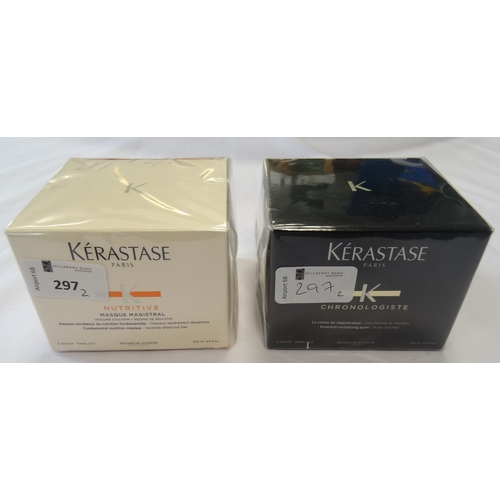 297 - TWO NEW AND UNUSED KERASTASE HAIR PRODUCTS comprising: one KERASTASE CHRONOLOGISTE SCALP AND HAIR BA...