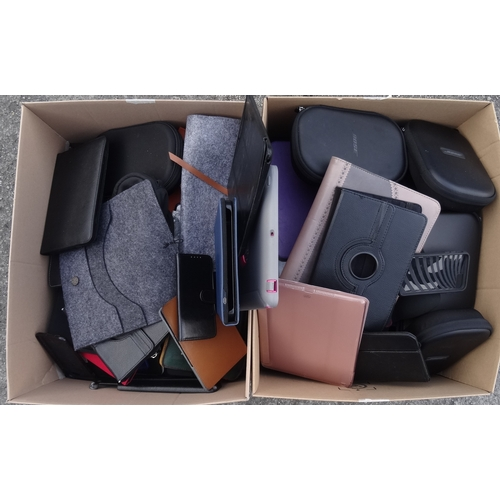 3 - TWO BOXES OF PROTECTIVE CASES including: tablet, phone, headphones and laptop cases....