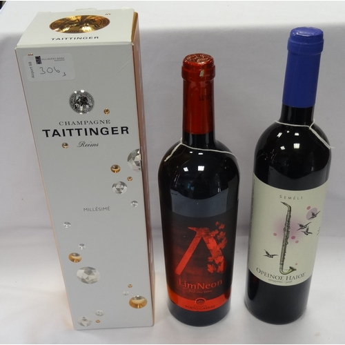 306 - SELECTION OF WINE AND CHAMPAGNE comprising: one TAITTINGER MILLESIME BRUT CHAMPAGNE (750ml/ 12.5% ab...