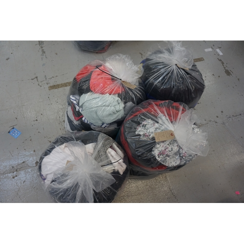 39 - FOUR BAGS OF LADIES' CLOTHING ITEMS including: PEPE JEANS; ZARA; ABERCROMBIE & FITCH; PLAYBOY; FOREV...