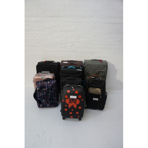 42 - SELECTION OF TEN SUITCASES Empty.  Various sizes. Including: SAMSONITE; IT LUGGAGE; FIVE CITIES; BLA...