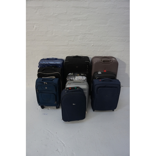43 - SELECTION OF TEN SUITCASES Empty.  Various sizes. Including: DELSEY; AEROLITE; IT LUGGAGE; GO EXPLOR...