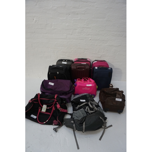 44 - SELECTION OF SUITCASES, CABIN LUGGAGE; RUCKSACK & HOLDALLS Empty.  12 items.  Various sizes.  Includ...