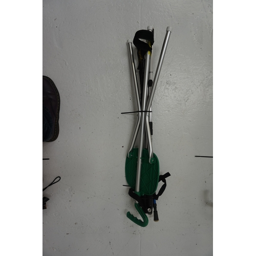 46 - SELECTION OF FOUR HIKING POLES AND ONE SEAT STICK...