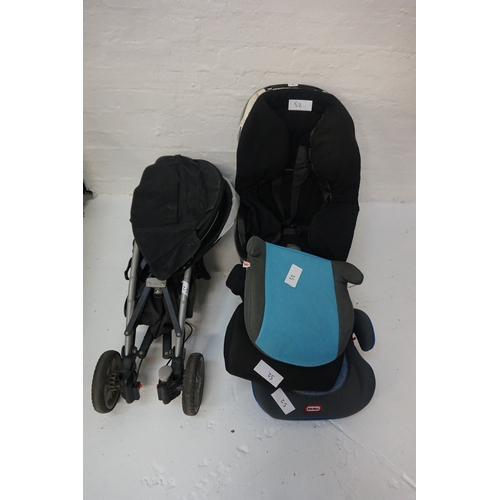52 - ONE GRACCO PRAM, ONE CAR SEAT AND THREE BOOSTER SEATS....