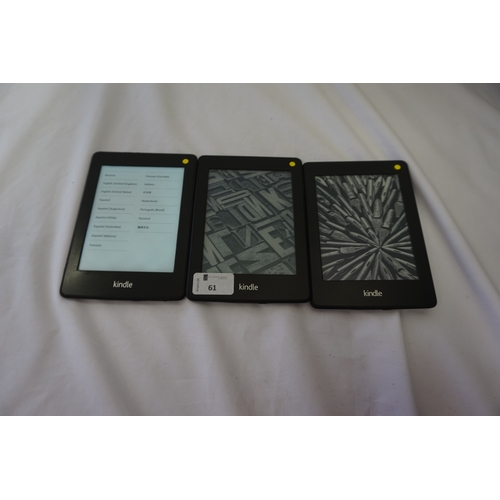 61 - SELECTION OF THREE KINDLE PAPERWHITE DEVICES comprising: one KINDLE PAPERWHITE 2 (2013) WIFI (4GB), ...