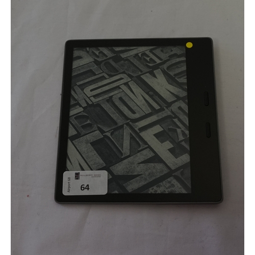 64 - KINDLE OASIS 2 WIFI (32GB) DEVICE serial number: G000 SA12 7414 0VFU.  Note: It is the buyer's respo...