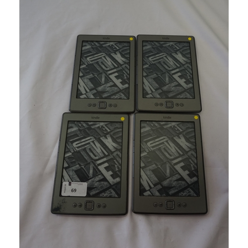 69 - FOUR KINDLE 4 NO TOUCH SILVER (2011) WIFI DEVICES serial numbers: B00E 1501 1435 3T70; B00E 1510 149...