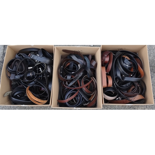 7 - THREE BOXES OF LADIES' AND GENTS' BELTS...