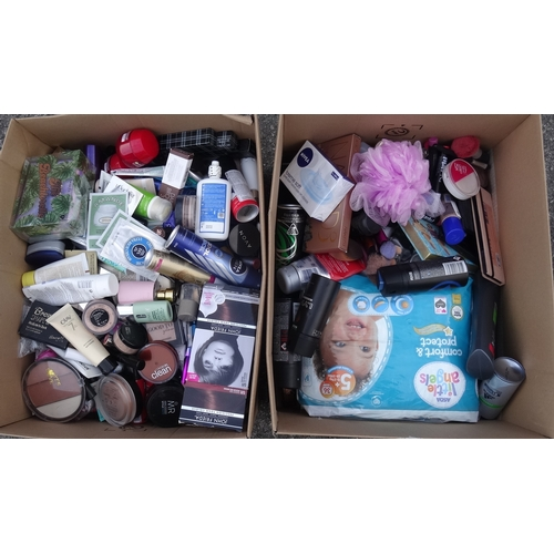 8 - TWO BOXES OF USED AND NEW TOILETRY ITEMS including: PACO RABANNE OLYMPEA; CHANEL CHANCE; NIVEA; NO.7...