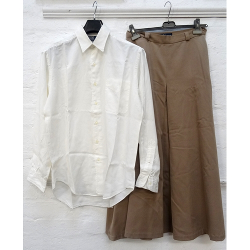 250 - THREE ITEMS OF LADIES RALPH LAUREN CLOTHING comprising a red blouse (size L), new with tags; a long ...