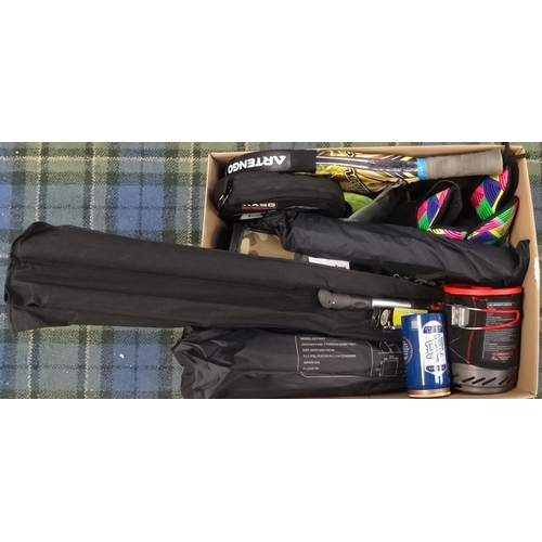 1 - ONE BOX OF SPORTING AND LEISURE ITEMS including bicycle repair kit, bicycle pump, camping accessorie...