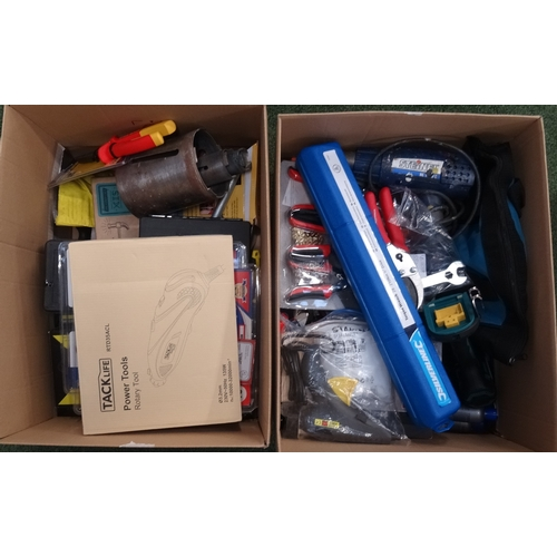 12 - TWO BOXES OF USED AND NEW TOOLS including rotary power tool, screwdrivers, spanners, circular saw bl...