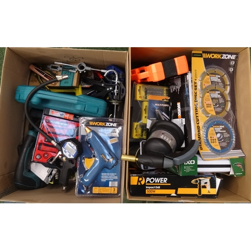 13 - TWO BOXES OF USED AND NEW TOOLS including Worx cordless hammer drill, Power impact drill, Bosch cord...