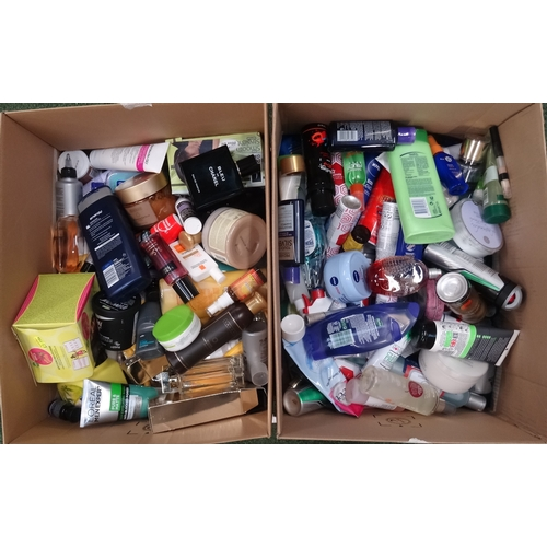 14 - TWO BOXES OF USED AND NEW TOILETRY ITEMS including Chanel, Victoria's Secret, L'oreal, Lush, Imperia...