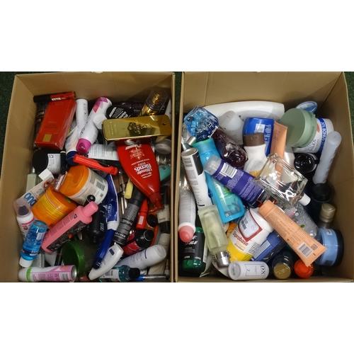 15 - TWO BOXES OF USED AND NEW TOILETRY ITEMS including Lush, Nivea, Victoria's Secret, Garnier, Dove, Da...