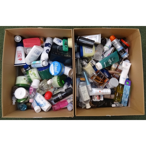 16 - TWO BOXES OF USED AND NEW TOILETRY ITEMS including: L'OREAL' LACOSTE; ALUMINE; DOLCE & GABBANA; THE ...