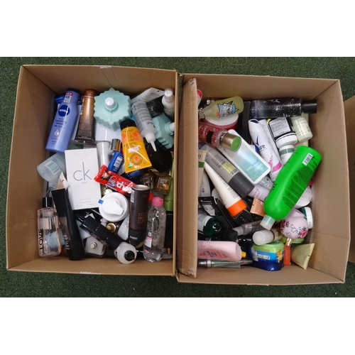 17 - TWO BOXES OF USED AND NEW TOILETRY ITEMS including: CALVIN KLEIN; THE BODY SHOP; CRABTREE & EVELYN; ...