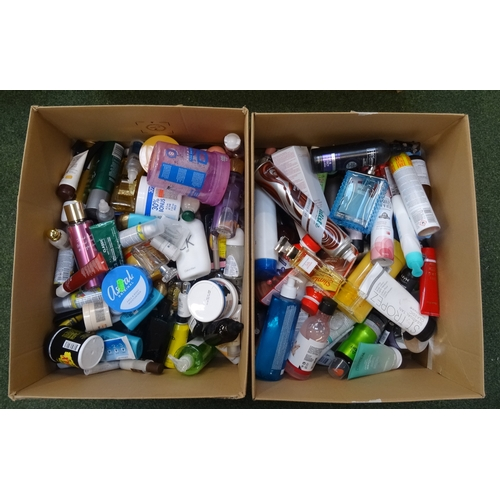 19 - TWO BOXES OF USED AND NEW TOILETRY ITEMS including: ELIZABETH ARDEN; THE BODY SHOP; VERSACE; VICTORI...