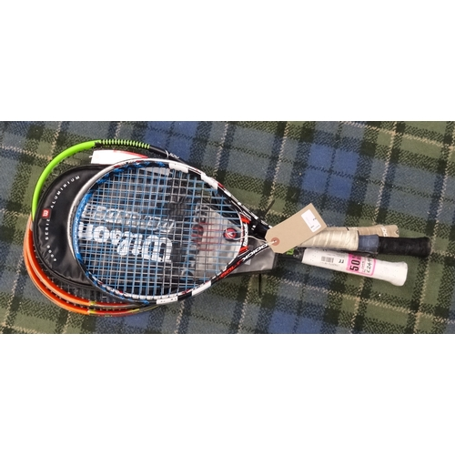 2 - SELECTION OF TENNIS AND SQUASH RACQUETS including kids Babolat, Karokal, Wilson and Two Head Radical...