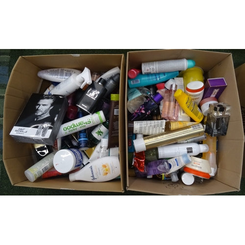 20 - TWO BOXES OF USED AND NEW TOILETRY ITEMS including: HUGO BOSS; KERASTASE; VICTORIA'S SECRET; RITUALS...
