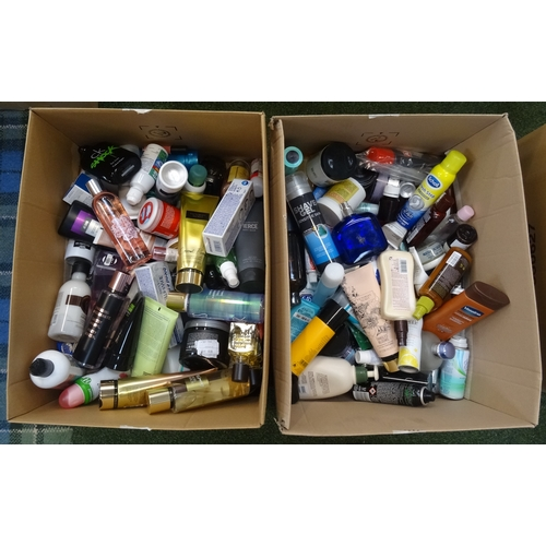23 - TWO BOXES OF USED AND NEW TOILETRY ITEMS including: VICTORIA'S SECRET; RALPH LAUREN; L'OCCITANE; THE...