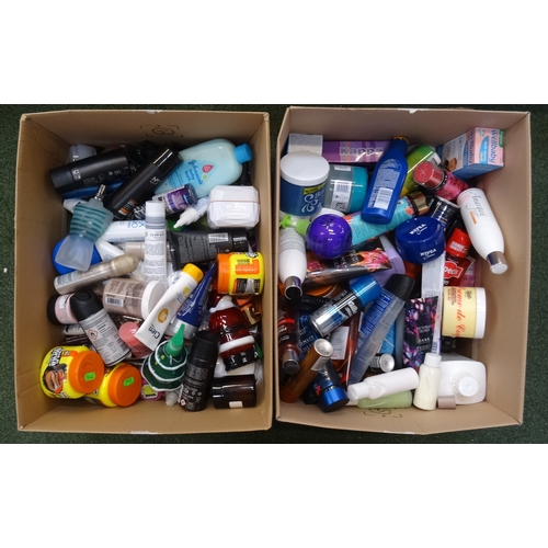 25 - TWO BOXES OF USED AND NEW TOILETRY ITEMS including: JEAN-PAUL GAULTIER; VICTORIA'S SECRET; JOHN FREI...