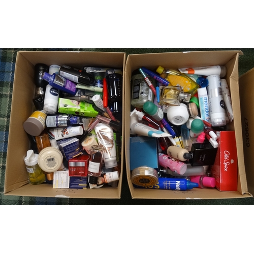 26 - TWO BOXES OF USED AND NEW TOILETRY ITEMS including: CALVIN KLEIN; VERSACE; CHANEL; HUGO BOSS; SANCTU...