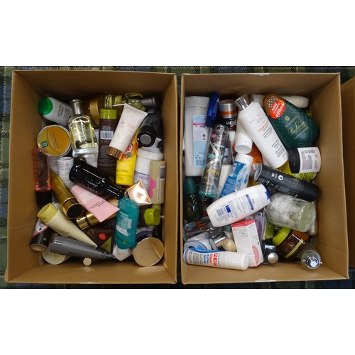 27 - TWO BOXES OF USED AND NEW TOILETRY ITEMS including: MARY KAY; HUGO BOSS; DAVID BECKHAM; ABERCROMBIE ...