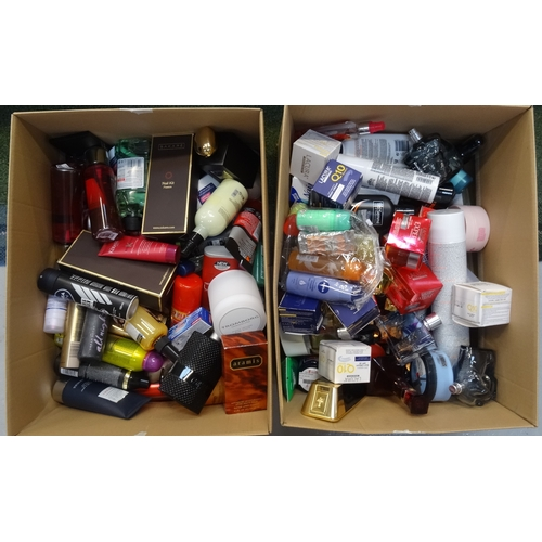 28 - TWO BOXES OF USED AND NEW TOILETRY ITEMS including: ARAMIS; LACURA; VICTORIA'S SECRET; TRESEMME; DIE...