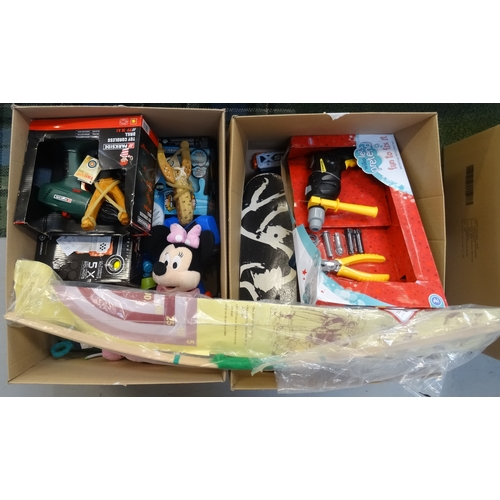 29 - TWO BOXES OF TOYS including: USED AND NEW NERF GUNS; TOY PISTOLS; SOFT TOY; CATAPULTS; TOY DIY ITEMS...