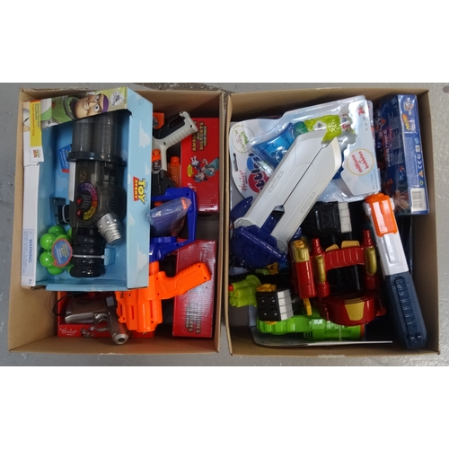 30 - TWO BOXES OF TOYS including: NEW AND USED NERF GUNS; SOAP BUBBLE GUN; NEW TOY STORY ZURG BLASTER; TO...