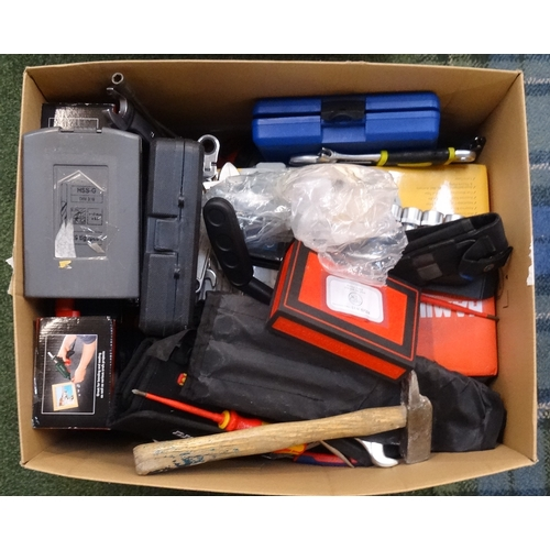 31 - ONE BOX OF NEW AND USED TOOLS including: hammers; drill bits; screwdrivers; tool kits; spanners; hot...