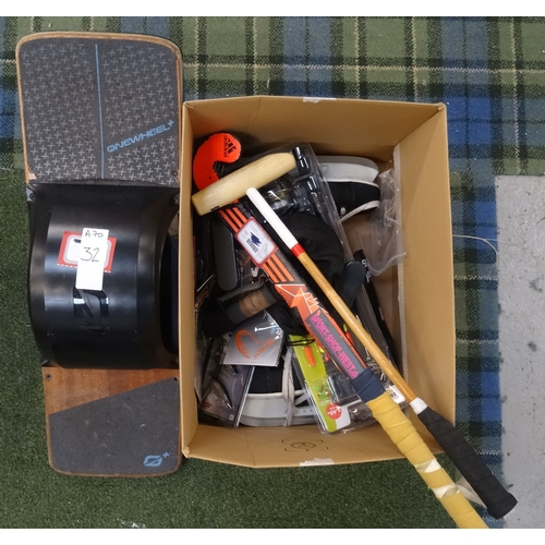 32 - SELECTION OF SPORTING AND LEISURE ITEMS including: Onewheel + Balance Board; hockey stick; darts; te...