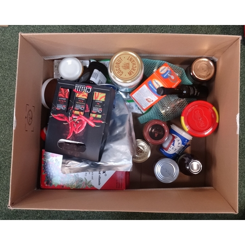 33 - ONE BOX OF CONSUMABLE ITEMS including: ORGANIC VIRGIN COCONUT OIL; CHOCOLATE & HAZELNUT SPREAD; TRUF...