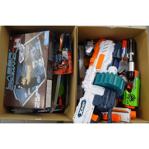 4 - TWO BOXES OF TOYS AND GAMES including Nerf guns, new Power Rangers DX Ninja Star Blade, toy tools, L...