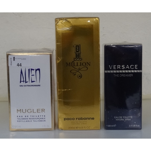 44 - SELECTION OF NEW & UNUSED FRAGRANCES comprising: one VERSACE THE DREAMER EAU DE TOILETTE (100ml); on...
