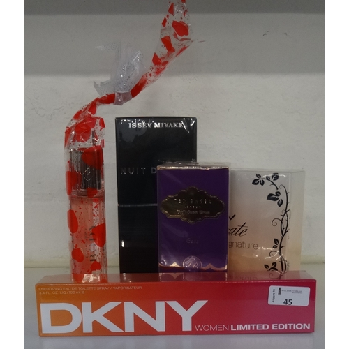 45 - SELECTION OF NEW & UNUSED FRAGRANCES comprising: one ISSEY MIYAKE NUIT D'ISSEY EAU DE TOILETTE POUR ...