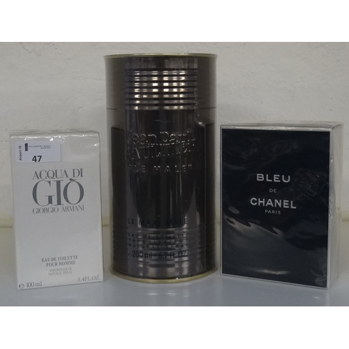 47 - SELECTION OF NEW & UNUSED GENT'S FRAGRANCE comprising: one BLEU DE CHANEL EAU DE TOILETTE POUR HOMME...