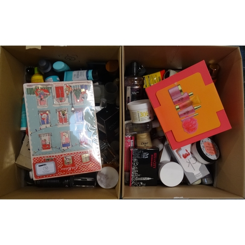 6 - TWO BOXES OF USED AND NEW TOILETRY ITEMS including Cath Kidson, Burberry, Issy Miyake, Kiehls, Body ...