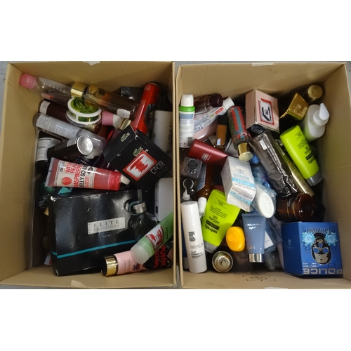 7 - TWO BOXES OF USED AND NEW TOILETRY ITEMS including Paco Rabanne, Victoria's Secrets, Ralph Lauren, D...