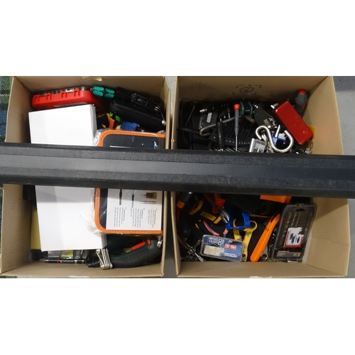 8 - TWO BOXES OF USED AND NEW TOOLS including screwdriver sets, Bosch electric jigsaw, socket sets, span...