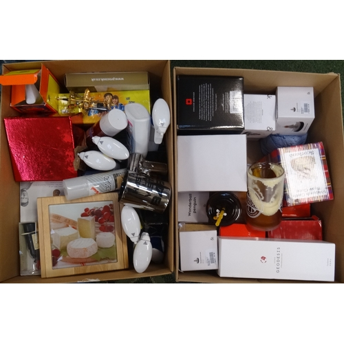 9 - TWO BOXES OF MISCELLANEOUS ITEMS including snow globes, reed diffuser, souveniers, cheese board and ...