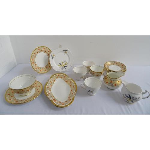 169 - RIDGWAY POTTERIES COLCLOUGH PATTERN TEA SET  comprising eight cups, seven saucers and five sandwich ...