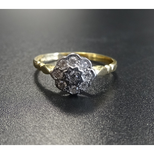 8 - DIAMOND CLUSTER RING the central diamond in eight diamond surround, on eighteen carat gold shank, ri...