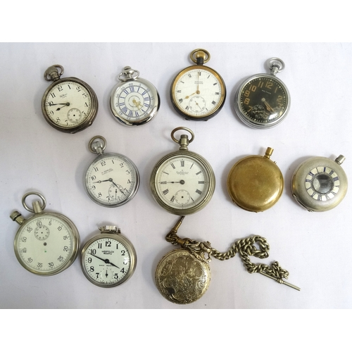 10 - SELECTION OF POCKET WATCHES including a silver cased Waltham with a top winder, white dial with Arab...