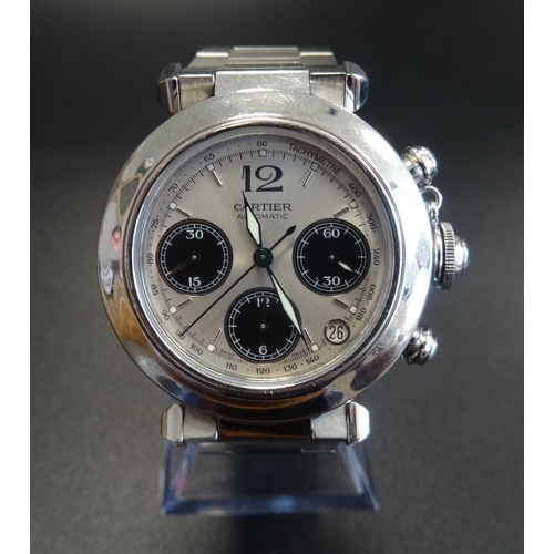 20 - GENTLEMAN'S CARTIER PASHA CHRONOGRAPH WRISTWATCH with a circular silvered dial and tachymeter around...