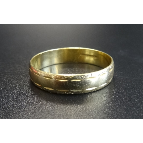 34 - EIGHTEEN CARAT GOLD WEDDING BAND ring size W and approximately 3.6 grams...