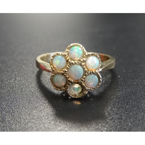 36 - OPAL CLUSTER DRESS RING on nine carat gold shank, ring size O-P - RE-OFFERED TIMED AUCTION...
